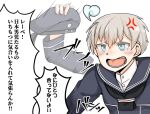 1girl afterimage blue_eyes commentary_request dress fang hat hat_removed headwear_removed kantai_collection motion_lines open_mouth sailor_dress sailor_hat short_hair silver_hair solo takasugi_heppu tears translation_request upper_body z1_leberecht_maass_(kancolle)