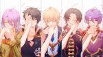 5boys ^_^ absurdres armor blonde_hair blue_eyes blush brown_hair closed_eyes coat collared_shirt column_lineup earrings hachisuka_kotetsu hand_kiss hand_on_another's_cheek hand_on_another's_face headband highres japanese_clothes jewelry kasen_kanesada kashuu_kiyomitsu kiss kiwame_(touken_ranbu) male_focus mole mole_under_mouth multiple_boys mutsu-no-kami_yoshiyuki necktie petals ponytail purple_hair red_nails red_scarf scarf shirt smile solo_focus touken_ranbu twitter_username yamanbagiri_kunihiro yellow_eyes yonemaru