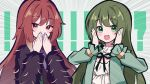 ! !! !? 2girls :o absurdres aketa_mikoto blush_stickers covering_mouth emphasis_lines eyebrows_visible_through_hair frilled_shirt frilled_sleeves frills fur-trimmed_jacket fur_trim green_hair hand_to_own_mouth hands_on_own_cheeks hands_on_own_face hands_together highres idol idolmaster idolmaster_shiny_colors jacket long_hair long_sleeves looking_at_viewer multiple_girls nanakusa_nichika neck_ribbon redhead ribbon shhis_(idolmaster) shirt sidelocks simple_background smile uhouhogorigori very_long_hair
