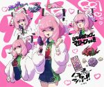1girl bracelet character_print clenched_hands collared_shirt commentary_request dynamax_band eyelashes eyeshadow fur_jacket galarian_form galarian_slowpoke gen_1_pokemon gen_4_pokemon gen_5_pokemon gen_8_pokemon gloves hairband hands_up heart jacket jewelry klara_(pokemon) koffing looking_at_viewer makeup mole mole_under_mouth nitaimoimo number one_eye_closed open_mouth partially_fingerless_gloves pink_hair pink_lips pokemon pokemon_(creature) pokemon_(game) pokemon_swsh shirt shorts single_glove skorupi smile smoke venipede white_hairband white_jacket