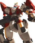 absurdres arm_slave_(mecha) arx-8_laevatein blue_eyes clenched_hand full_metal_panic! gio_tengco glowing glowing_eyes gun highres holding holding_gun holding_weapon looking_down mecha no_humans science_fiction solo weapon white_background