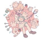 1boy ahoge alcremie alcremie_(strawberry_sweet) alternate_costume ascot bangs bede_(pokemon) berry_(pokemon) blonde_hair bow butter closed_mouth commentary_request curly_hair food gen_6_pokemon gen_8_pokemon grey_eyes heart holding holding_spoon holding_whisk jug male_focus milcery mixing_bowl musical_note pants pokemon pokemon_(creature) pokemon_(game) pokemon_swsh pot shiroimoufu shoes smile spoon swirlix whipped_cream