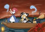 2girls :d apron black_headwear blonde_hair blue_dress boat bow braid broom closed_mouth dress flower full_body graveyard green_bow hair_bobbles hair_bow hair_ornament hat hat_bow highres hitodama holding holding_paddle kirisame_marisa lantern lantern_on_liquid long_hair looking_at_viewer multiple_girls o-ring obi onozuka_komachi open_mouth outdoors paddle paper_lantern red_bow red_eyes red_flower redhead sash shirt short_hair short_sleeves side_braid single_braid sitting smile standing tatutaniyuuto touhou two_side_up waist_apron water watercraft white_apron white_bow white_shirt wide_sleeves witch_hat yellow_eyes