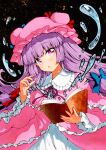 1girl :o bangs blue_bow blunt_bangs blush book bow commentary_request dark_background dress eyebrows_visible_through_hair floating_hair frilled_shirt_collar frills hair_bow hair_ribbon hand_up hat holding holding_book long_hair looking_at_viewer mob_cap open_book open_mouth patchouli_knowledge pink_capelet pink_dress pink_eyes pink_headwear purple_hair qqqrinkappp red_bow ribbon simple_background solo touhou traditional_media tress_ribbon upper_body very_long_hair water wide_sleeves