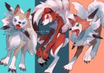 1boy :3 animal_ears animal_nose aqua_eyes artist_name big_hair black_hair blue_eyes body_fur character_name claws colored_sclera commentary dog dog_boy dog_ears dog_tail english_text fangs fluffy full_body furry gen_7_pokemon grin happy highres kikuyoshi_(tracco) long_hair looking_at_viewer lycanroc lycanroc_(dusk) lycanroc_(midday) lycanroc_(midnight) male_focus multicolored_hair open_mouth paws pokemon pokemon_(creature) red_eyes red_fur red_sclera signature simple_background smile snout standing tail teeth tongue two-tone_fur two-tone_hair white_fur white_hair