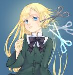 1girl bangs black_bow black_neckwear blonde_hair blue_background blue_eyes blunt_bangs bow bowtie buttons closed_mouth commentary_request cutting_hair dress eyebrows_visible_through_hair fate_(series) gradient gradient_background green_dress hand_up highres long_hair long_sleeves looking_at_viewer lord_el-melloi_ii_case_files reines_el-melloi_archisorte satou_usuzuku scissors short_hair solo upper_body