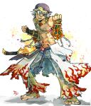 1boy bangs barefoot black_gloves championship_belt commentary_request dated fingerless_gloves flame_print full_body gauntlets gloves hat jewelry looking_at_viewer male_focus monocle navel necklace nipples open_mouth pants penguin_hat ragnarok_online reload9_yohji shirtless short_hair shura_(ragnarok_online) signature solo standing white_background white_pants