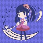 1girl argyle argyle_background bangs black_legwear blue_background blue_eyes blue_hair blunt_bangs bow bowtie chibi closed_mouth cobalta flower full_body furudo_erika hair_flower hair_ornament holding holding_scythe lolita_fashion long_hair long_sleeves looking_at_viewer pink_bow pink_neckwear red_flower scythe sidelocks smile solid_oval_eyes solo standing twintails umineko_no_naku_koro_ni white_footwear wide_sleeves