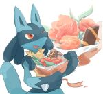 commentary_request fang flower gen_4_pokemon highres holding lucario momota_pix open_mouth orange_eyes orange_flower orange_ribbon pokemon pokemon_(creature) red_flower ribbon signature simple_background smile solo spikes tongue white_background yellow_fur