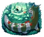 black_eyes celebi closed_eyes flower furret gen_2_pokemon grass kochi8i looking_at_another lying mythical_pokemon no_humans on_stomach petals pokemon pokemon_(creature) red_flower sleeping