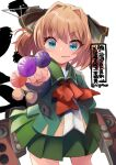 1girl background_text black_ribbon blue_eyes brown_hair candy character_name commentary_request cowboy_shot food green_jacket green_sailor_collar green_skirt hachijou_(kancolle) hair_ribbon holding holding_candy holding_food holding_lollipop jacket kantai_collection lollipop long_sleeves machinery neck_ribbon nigo pleated_skirt pom_pom_(clothes) red_ribbon ribbon sailor_collar school_uniform serafuku short_hair simple_background skirt solo white_background
