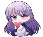 1girl belly_chain blue_cape blue_dress braid cape chibi commission commissioner_upload dress eyebrows_visible_through_hair fire_emblem fire_emblem:_the_binding_blade french_braid heart highres holding holding_heart jewelry long_hair purple_hair shiohachi skeb_commission smile solo sophia_(fire_emblem) transparent_background very_long_hair violet_eyes