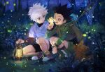 2boys :o black_hair blue_eyes blurry bokeh boots brown_eyes bug butterfly_net creature depth_of_field fireflies forest full_body glowing gon_freecss green_jacket hand_net hand_up hat holding hunter_x_hunter insect jacket killua_zoldyck lantern male_focus multiple_boys nature night open_mouth plant scenery shirt short_hair shorts smile spiky_hair squatting tree tree_branch white_background white_shirt yud79317724