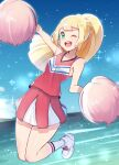 1girl ;d arm_up bangs bare_arms blonde_hair braid cheerleader clouds commentary_request cosplay dawn_(pokemon) dawn_(pokemon)_(cosplay) day eyelashes floating_hair green_eyes highres holding holding_pom_poms lillie_(pokemon) long_hair one_eye_closed open_mouth outdoors pokemon pokemon_(anime) pokemon_dppt_(anime) pokemon_sm_(anime) pom_poms shiny shiny_hair shirt shoes skirt sky smile socks solo sparkle teeth tongue water white_footwear white_legwear yasu_suupatenin