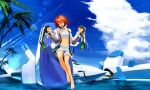 1girl alf874 astelion barefoot boots boots_removed clouds cross-laced_footwear day highres holding holding_shoes ibis_douglas knee_boots lace-up_boots mecha midriff ocean palm_tree redhead science_fiction shoes shorts sky solo super_robot_wars tree
