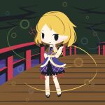 1girl angry arm_warmers bangs black_eyes black_footwear blonde_hair bridge chibi cobalta full_body looking_at_viewer mizuhashi_parsee multicolored multicolored_clothes open_mouth outdoors pointy_ears scarf short_hair short_sleeves solid_oval_eyes solo standing touhou v-shaped_eyebrows water white_legwear white_scarf