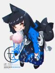 1girl animal_ear_fluff animal_ears black_footwear black_hair black_hakama blue_kimono blue_scrunchie blush brown_eyes closed_mouth commentary_request cotton_candy food fox_ears fox_girl fox_tail full_body grey_background hair_ornament hair_scrunchie hakama highres holding holding_food japanese_clothes kimono kitsune kuro_kosyou leaning_forward licking_lips long_hair long_sleeves looking_at_viewer original scrunchie simple_background smile solo standing tabi tail tongue tongue_out very_long_hair white_kimono white_legwear wide_sleeves zouri