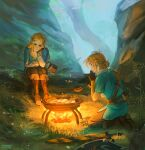 1boy 1girl absurdres annoyed blonde_hair blue_eyes boots bowl brown_footwear brown_gloves brown_pants earrings fingerless_gloves fire flame food gloves grass highres holding holding_spoon jewelry knee_boots link long_hair long_sleeves outdoors pants pointy_ears ponytail princess_zelda profile sheikah_slate shield short_hair short_over_long_sleeves short_ponytail short_sleeves sitting spoon sunny_side_up_egg the_legend_of_zelda the_legend_of_zelda:_breath_of_the_wild tree tree_branch triforce_print tunic viktoria_ridzel weapon