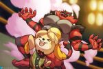 >_< 1girl animal_crossing arm_up blurry blurry_background blush_stickers buttons claws collared_shirt colored_sclera commentary crossover english_commentary fire gen_7_pokemon green_eyes green_vest hands_up happy incineroar isabelle_(animal_crossing) jimsdaydreams light neck_ribbon open_mouth pokemon pokemon_(creature) red_ribbon ribbon sharp_teeth shirt short_sleeves smile smoke standing super_smash_bros. teeth toes tongue twitter_logo twitter_username vest watermark web_address white_shirt yellow_sclera