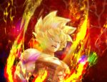 1boy abs artist_name aura blonde_hair commentary dragon_ball dragon_ball_z electricity furrowed_eyebrows green_eyes male_focus muscular muscular_male nipples no_pupils open_mouth pectorals red_background sanpaku scratches solo_focus son_goku sparkle spiky_hair super_saiyan symbol_commentary tarutobi twitter_username upper_body