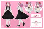 :o absurdres blouse bow character_name character_sheet eyepatch frilled_shirt frills frown gothic_lolita hair_bow hair_ornament high-waist_skirt highres indie_virtual_youtuber lolita_fashion pantyhose pink_hair red_eyes shirt skirt white_legwear