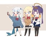 3girls :d absurdres alternate_costume alternate_hairstyle arm_up black_legwear blonde_hair blue_eyes blue_hair blush bow bowtie bubble_tea cardigan cellphone chibi commentary_request crepe drinking fish_tail food full_body gawr_gura grey_background grey_hair hair_ornament hairclip halo highres hololive hololive_english long_hair long_sleeves multicolored_hair multiple_girls neru_(flareuptf1) ninomae_ina'nis open_mouth pantyhose phone pleated_skirt pointy_ears purple_hair red_bow red_neckwear school_uniform shark_tail sharp_teeth skirt sleeves_past_fingers sleeves_past_wrists smile standing streaked_hair tail teeth tentacle_hair thigh-highs twintails two-tone_background two_side_up v violet_eyes watson_amelia white_background white_legwear wings zettai_ryouiki