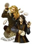 2boys bangs black_coat blonde_hair blue_eyes bowl braid brown_coat brown_eyes brown_hair brown_pants character_name closed_mouth coat commentary_request copyright_name cowboy_shot cropped_legs facial_hair fili fur_coat grey_shirt holding holding_pipe holding_plate kili_(the_hobbit) long_hair long_sleeves looking_at_another looking_back male_focus multiple_boys mustache open_mouth pants pipe plate reload9_yohji shirt simple_background smile stubble the_hobbit white_background