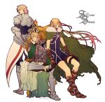 3boys armor armored_boots blonde_hair boots brown_footwear cape commentary_request dinkuron elf green_cape hand_on_own_cheek hand_on_own_face harugano knee_boots log_horizon long_hair male_focus multiple_boys pointy_ears prometheus_(log_horizon) short_hair sitting standing very_long_hair white_background william_massachusetts