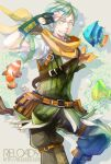1boy bangs belt black_gloves black_pants brown_belt clownfish commentary_request dated feet_out_of_frame fingerless_gloves fish gloves green_eyes green_hair green_vest grin looking_at_viewer male_focus mouth_hold official_alternate_costume pants pouch ragnarok_online ranger_(ragnarok_online) reload9_yohji salute scarf shirt short_hair signature smile solo vest water watermark web_address white_shirt white_vest yellow_scarf