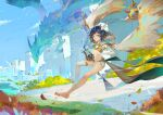 1boy 1other absurdres androgynous asymmetrical_legwear black_hair blebleart blue_eyes blue_sky braid clouds detached_sleeves dragon dvalin_(genshin_impact) flower flying full_body genshin_impact hair_flower hair_ornament highres hood huge_filesize leaves_in_wind looking_at_viewer lyre male_focus midriff multicolored_hair navel otoko_no_ko outdoors short_shorts shorts sky solo twin_braids two-tone_hair venti_(genshin_impact) white_legwear white_shorts wind wings