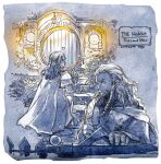 2boys boots border braid character_name closed_mouth coat commentary_request copyright_name dated door facial_hair fence fili kili_(the_hobbit) lamp limited_palette long_hair long_sleeves looking_to_the_side male_focus multiple_boys mustache night pants reload9_yohji signature the_hobbit upper_body white_border window