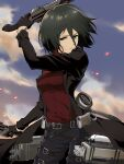 1girl absurdres arm_up belt black_coat black_eyes black_gloves black_hair black_pants bob_cut breasts clouds coat commentary cowboy_shot gloves hair_between_eyes hair_strand highres holding holding_weapon long_bangs looking_at_viewer medium_breasts micaoz mikasa_ackerman official_style open_clothes open_coat pants parted_lips red_scarf red_shirt scarf shingeki_no_kyojin shirt short_hair sky solo thigh_strap three-dimensional_maneuver_gear trench_coat weapon