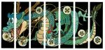 alternate_color aqua_eyes commentary dragon dragon_ball dragon_ball_(object) english_commentary facing_viewer full_body green_theme highres holding horns looking_afar no_humans official_art open_mouth paws scales shenlong_(dragon_ball) simple_background teeth teeth_hold thick_eyebrows tongue toriyama_akira whiskers white_background