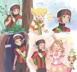 >_< 1girl 3boys animal_ears arrow_(symbol) backpack bag bangs barry_(pokemon) beanie blonde_hair blush bracelet brendan_(pokemon) brown_eyes brown_hair brown_pants burgh_(pokemon) bush choker clenched_hands closed_eyes closed_mouth commentary_request eyelashes fake_animal_ears gen_2_pokemon green_bag green_headwear green_pants green_scarf hairband hands_up hat hiding highres holding holding_stick holding_strap jacket jewelry may_(pokemon) multiple_boys musical_note on_head open_mouth pants pink_choker pink_skirt pokemon pokemon_(creature) pokemon_(game) pokemon_dppt pokemon_masters_ex pokemon_on_head pokemon_oras rabbit_ears scarf short_hair short_sleeves skirt smile stick tailcoat togepi tongue translation_request tree turtleneck white_headwear wrist_cuffs yairo_(sik_s4) yellow_hairband zipper_pull_tab |d