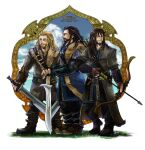 3boys arrow_(projectile) bangs beard belt black_footwear black_pants blonde_hair blue_coat blue_eyes blue_pants blue_shirt blue_sky boots bow_(weapon) braid brown_belt brown_coat brown_eyes brown_footwear brown_shirt character_name closed_mouth clouds coat commentary_request copyright_name dated drawing_bow earrings facial_hair fili framed full_body fur_coat gauntlets grass green_coat holding holding_bow_(weapon) holding_sword holding_weapon jewelry kili_(the_hobbit) long_hair looking_afar looking_to_the_side male_focus multiple_boys mustache pants reload9_yohji shirt signature sky smile standing sword the_hobbit thorin_oakenshield weapon white_background