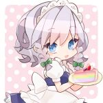 1girl aji_(pokedegi) apron bangs blue_dress blue_eyes bow cake cake_slice chibi dress food fruit green_bow grey_hair hair_bow highres holding izayoi_sakuya looking_at_viewer maid_headdress open_mouth pink_background plate polka_dot polka_dot_background puffy_short_sleeves puffy_sleeves rainbow_gradient short_sleeves smile solo strawberry touhou unconnected_marketeers