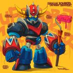 character_name chibi english_commentary english_text grendizer highres holding horns mecha muhammad_firdaus no_humans paint_roller science_fiction signature solo spikes super_robot ufo_robo_grendizer yellow_eyes