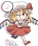 1girl :q ascot bangs blonde_hair crystal cupcake flandre_scarlet food full_body hat hat_ribbon holding holding_plate looking_at_viewer medium_hair mob_cap musical_note one_eye_closed plate red_eyes red_footwear red_ribbon red_shirt red_skirt ribbon rokugou_daisuke running shirt short_sleeves side_ponytail signature simple_background skirt smile solo spoken_musical_note tongue tongue_out touhou white_background white_headwear white_legwear wings yellow_neckwear