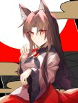 1girl animal_ears blush breasts brooch brown_hair dress eyebrows_visible_through_hair fingernails highres imaizumi_kagerou jewelry kuma_xylocopa large_breasts long_fingernails long_hair long_sleeves looking_at_viewer looking_to_the_side red_eyes solo sweat tail touhou white_dress wide_sleeves wolf_ears wolf_tail
