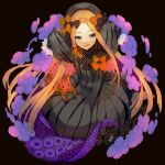 1girl abigail_williams_(fate) akasakak bangs black_background black_bow black_dress black_headwear blonde_hair blue_eyes bow breasts dress fate/grand_order fate_(series) forehead hair_bow hat highres long_hair long_sleeves looking_at_viewer multiple_bows orange_bow parted_bangs polka_dot polka_dot_bow ribbed_dress sleeves_past_fingers sleeves_past_wrists small_breasts smile stuffed_animal stuffed_toy teddy_bear tentacles