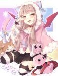 1girl :d animal animal_ear_legwear animal_ears animal_hood arm_support bag bangs bell black_skirt blue_bow bow brown_hair capelet cat cat_ear_legwear cat_ears cat_hood cat_tail collar collarbone demon_wings eyebrows_visible_through_hair fake_animal_ears fang full_body fur-trimmed_capelet fur-trimmed_hood fur_trim hand_up highres hiko_(zem_n) hood hood_up hooded_capelet jingle_bell looking_at_viewer makaino_ririmu multicolored_hair navel nijisanji open_mouth over-kneehighs pink_capelet pleated_skirt red_collar red_eyes red_wings redhead shoulder_bag signature skirt smile solo streaked_hair striped striped_legwear stuffed_animal stuffed_bunny stuffed_toy tail tail_bell tail_bow tail_ornament tail_raised thigh-highs virtual_youtuber wings wrist_cuffs