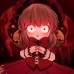 1girl :o bell bow bowtie brown_hair corset fingers_together hat laetitia_(lobotomy_corporation) lobotomy_corporation long_sleeves open_mouth red_bow red_corset red_eyes red_neckwear red_skirt skirt solo takeout_117 wide-eyed
