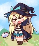 >_< 1girl aizawa_azusa bangs black_headwear black_robe blonde_hair blue_bow blue_legwear blue_skirt blue_sky blush boots bow breasts brown_footwear closed_eyes clouds day eyebrows_visible_through_hair facing_viewer flower hair_between_eyes hana_kazari hand_on_headwear hand_up hat hat_bow highres long_hair mountain open_clothes open_mouth open_robe outdoors pleated_skirt red_flower robe shirt skirt sky slime_(creature) slime_taoshite_300_nen_shiranai_uchi_ni_level_max_ni_nattemashita small_breasts socks solo very_long_hair wavy_mouth white_flower white_shirt witch_hat yellow_flower