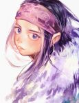 1girl absurdres asirpa black_hair blue_eyes fur golden_kamuy highres long_hair looking_back mameka_(jenny890311) portrait purple_headband solo white_background