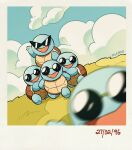 artist_name blurry blurry_foreground border carrying clouds commentary dated day english_commentary gen_1_pokemon grass highres looking_at_viewer no_humans outdoors pokemon pokemon_(creature) sky squirtle squirtle_squad standing starter_pokemon sunglasses teletelo white_border