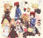 0_0 3girls 4boys ahoge antenna_hair arrow_(symbol) backpack bag bare_shoulders baseball_cap black_vest blonde_hair blue_jacket blush boots braid brendan_(pokemon) brown_dress brown_hair calem_(pokemon) clenched_hands closed_eyes collared_shirt commentary_request dress ear_piercing eyelashes eyewear_removed gen_5_pokemon gladion_(pokemon) hair_ornament hand_up hands_up hat high_ponytail hilda_(pokemon) holding_strap hood hood_down hoodie jacket light_brown_hair lillie_(pokemon) long_hair long_sleeves motion_lines multiple_boys multiple_girls no_eyes on_shoulder open_clothes open_mouth open_vest outline piercing pink_bag pleated_skirt pokemon pokemon_(creature) pokemon_(game) pokemon_bw pokemon_masters_ex pokemon_on_shoulder pokemon_oras pokemon_sm pokemon_xy ponytail red_headwear serena_(pokemon) shirt short_hair short_shorts short_sleeves shorts skirt smile socks steven_stone sunglasses thought_bubble translation_request vest whimsicott white-framed_eyewear white_shirt white_skirt yairo_(sik_s4) |d