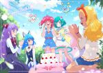 5girls amamiya_erena animal_ears aqua_eyes aqua_hair blonde_hair blue_cat blue_eyes blue_hair blue_shorts blue_sky bow cake cat_ears cat_tail closed_mouth clouds commentary_request dark_skin dark_skinned_female dated day dress food fuwa_(precure) hagoromo_lala hair_bow hair_ornament happy_birthday hoshina_hikaru juugoya_neko kaguya_madoka long_hair multiple_girls open_mouth outdoors overalls petals pink_eyes pink_hair precure prunce_(precure) purple_dress purple_hair red_bow shirt short_hair shorts sitting sky smile star_twinkle_precure striped tail twintails vertical-striped_dress vertical_stripes wariza white_shirt yuni_(precure)