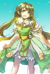 1girl alternate_color archbishop_(ragnarok_online) bangs bloomers brown_hair cleavage_cutout clothing_cutout commentary_request cross dated dress feet_out_of_frame frilled_sleeves frills green_dress green_eyes long_hair looking_at_viewer official_alternate_costume open_mouth pointy_ears ragnarok_online reload9_yohji short_sleeves signature solo twintails two-tone_dress underwear watermark web_address white_dress