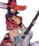 1girl absurdres black_hair electric_guitar guilty_gear guilty_gear_strive guitar hat highres i-no instrument jacket red_headwear red_jacket short_hair subakeye sunglasses witch_hat