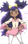 1girl ayakadegozans bangs big_hair blurry blush brown_eyes closed_mouth collarbone commentary_request dark_skin dark_skinned_female eyelashes highres iris_(pokemon) knees leggings legs_apart long_hair looking_at_viewer pink_skirt pokemon pokemon_(anime) pokemon_bw_(anime) purple_hair skirt smile solo tied_hair two_side_up v-shaped_eyebrows very_long_hair white_legwear